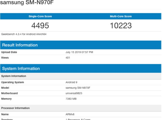 Samsung Galaxy Note 10 Geekbench score