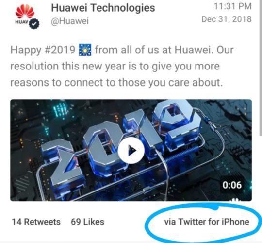 Huawei tweet via iPhone