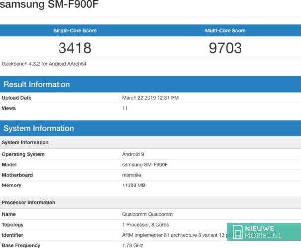 Geekbench score Samsung Galaxy Fold