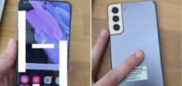 Werkende Samsung Galaxy S21+ in het paars op de foto