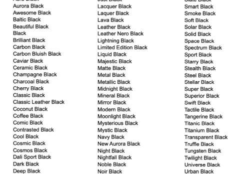 """Zwart is zwart toch? Daar denken telefoonfabrikanten heel anders over. Zij verzinnen de gekste namen voor de kleur zwart. Wij verzamelden inmiddels al 144 namen voor """"zwart"""". Welke is jouw favoriet?"""
