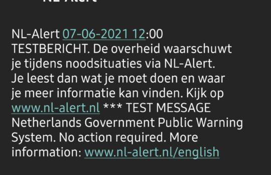 Test van #NLAlert geslaagd