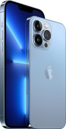 Apple iPhone 13 Pro Max and iPhone 13 Pro in Sierra Blue