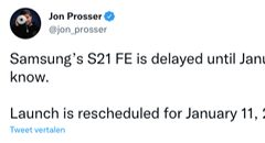 """Samsung Galaxy S21 FE uitgesteld tot januari 2022"""