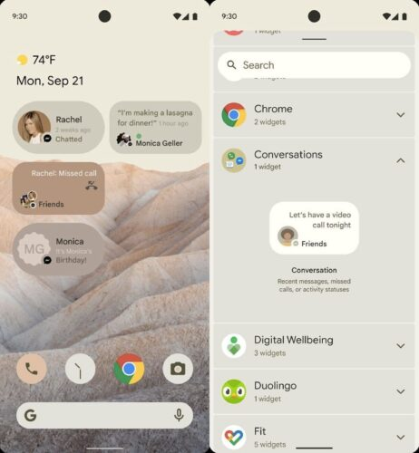 Android 12 conversations widget