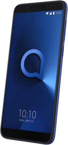 Alcatel 3 blauw voorkant rechterzijkant schuin