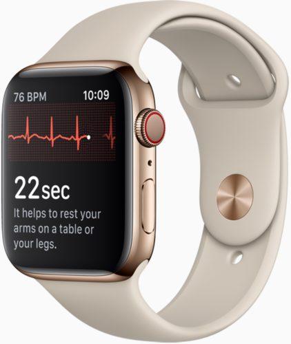 Apple watch series 4 voorkant rechterzijkant ecg
