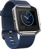 Fitbit Blaze blauw voorkant linkerzijkant schuin