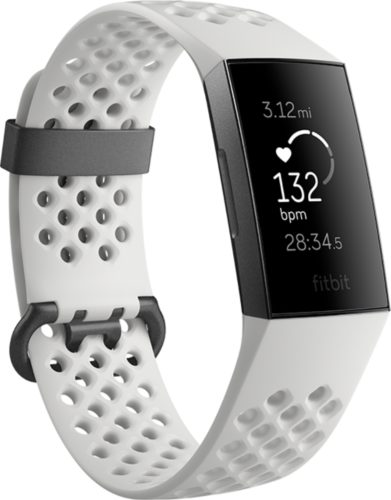 Fitbit Charge 3 voorkant linkerzijkant wit