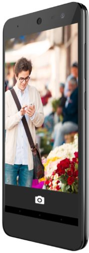 General Mobile Android One zwart voorkant rechterzijkant schuin