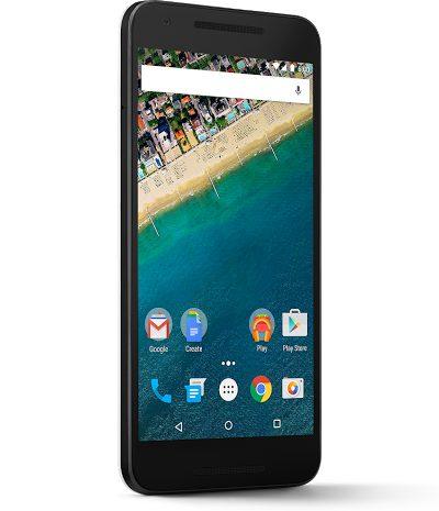 Google Nexus 5X voorkant linkerzijkant schuin