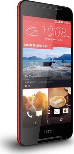 HTC Desire 628 rood voorkant linkerzijkant