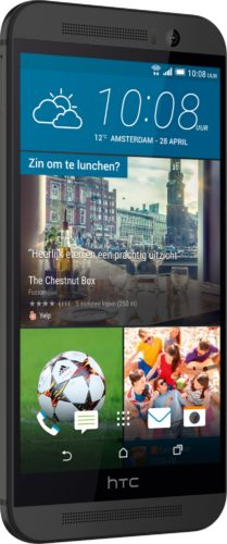HTC One M9 Prime Camera Edition gunmetal grijs voorkant linkerzijkant