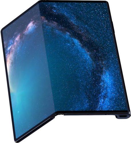 Huawei Mate X zwart voorkant half geopend