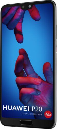Huawei P20 zwart voorkant rechterzijkant