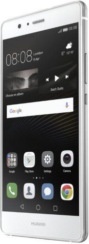 Huawei P9 Lite wit voorkant rechterzijkant