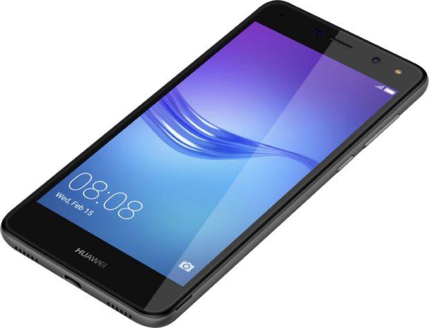 Huawei y6 2017 zwart voorkant rechterzijkant onderkant