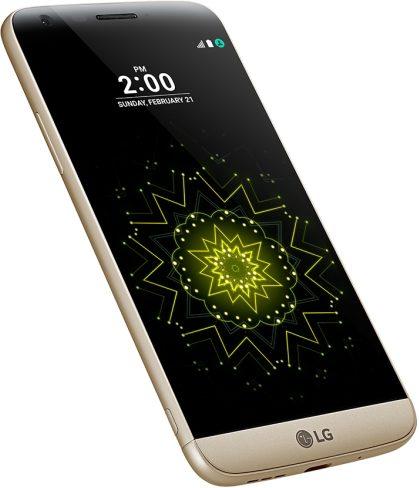 LG G5 SE goud voorkant linkerzijkant