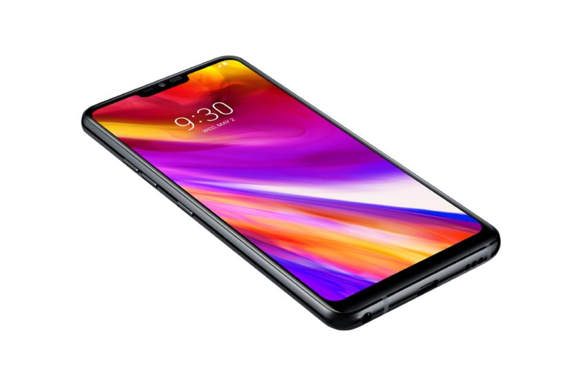 LG G7 ThinQ zwart voorkant linkerzijkant onderkant schuin