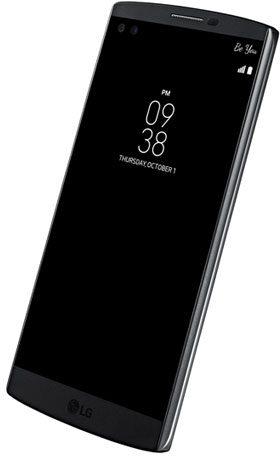 LG V10 zwart voorkant rechterzijkant