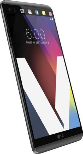 LG V20 voorkant linkerzijkant grijs