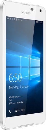 Microsoft Lumia 650 Dual SIM wit voorkant linkerzijkant