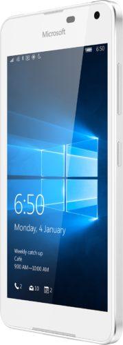 Microsoft Lumia 650 wit voorkant rechterzijkant