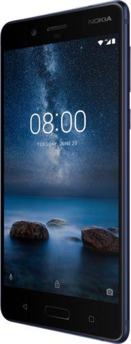 Nokia 8 blauw voorkant rechterzijkant
