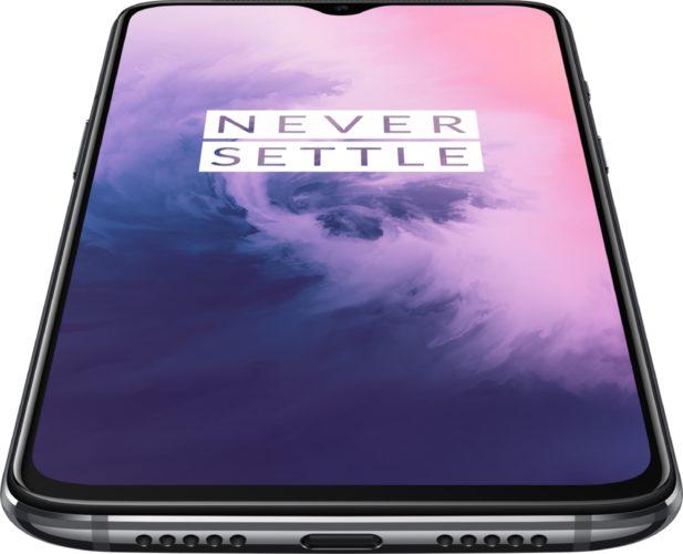 OnePlus 7 negro tapa delantera abajo
