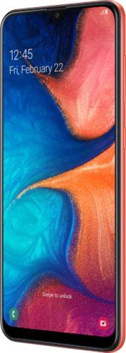 Samsung Galaxy A20e arancia copertina frontale lato destro