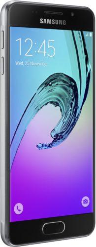 Samsung Galaxy a3 2016 zwart voorkant linkerzijkant