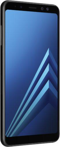 Samsung Galaxy a8 2018 zwart voorkant linkerzijkant