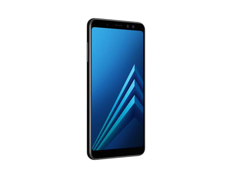 Samsung Galaxy a8 2018 duos zwart voorkant linkerzijkant