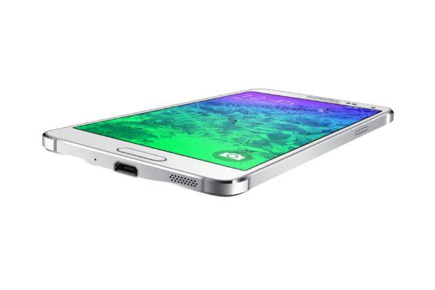 Samsung Galaxy Alpha sm g850f dazzling wit schuin onderkant