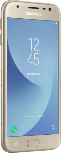 Samsung Galaxy j3 2017 goud voorkant linkerzijkant
