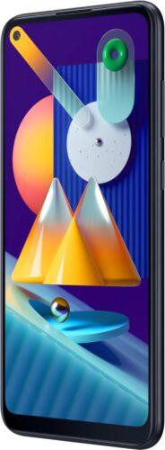 Samsung Galaxy M11 zwart voorkant rechterzijkant