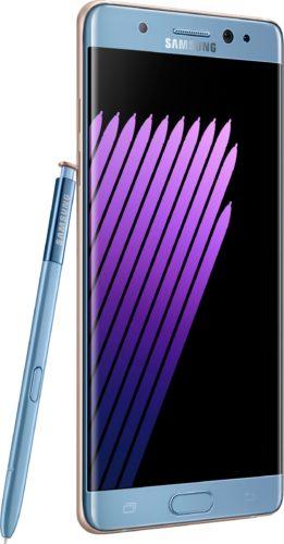 Samsung Galaxy Note 7 blauw voorkant linkerzijkant met pen