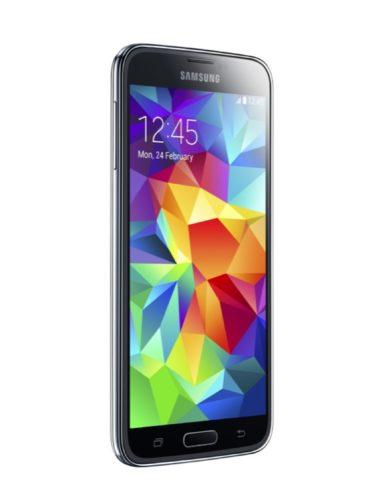 Samsung Galaxy S5 charcoal zwart schuin linkerzijkant