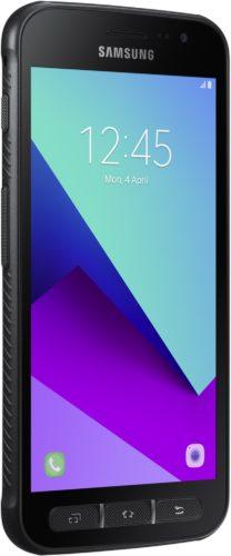 Samsung Galaxy Xcover 4 zwart voorkant linkerzijkant