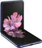 Samsung Galaxy Z Flip purple front left side bottom opened